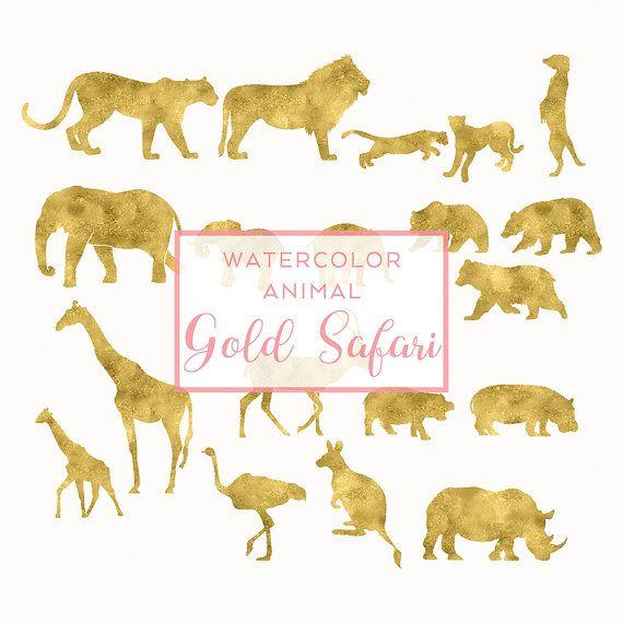 Gold Safari Animal Silhouette Digital Download Watercolor Etsy Animal Silhouette Silhouette Clip Art Safari Animals