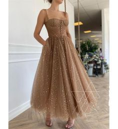 Fantasy Stars Moon Prom Dress Sparkle Brown Party
