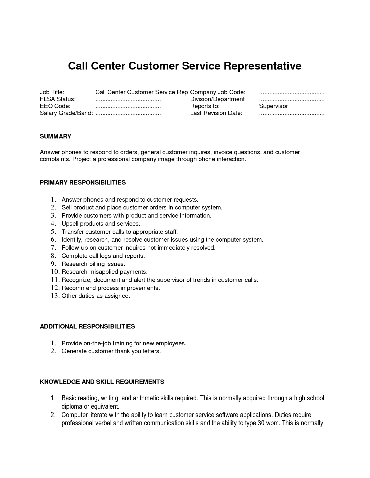 call center agent job description jianbochen cover letter customer ...