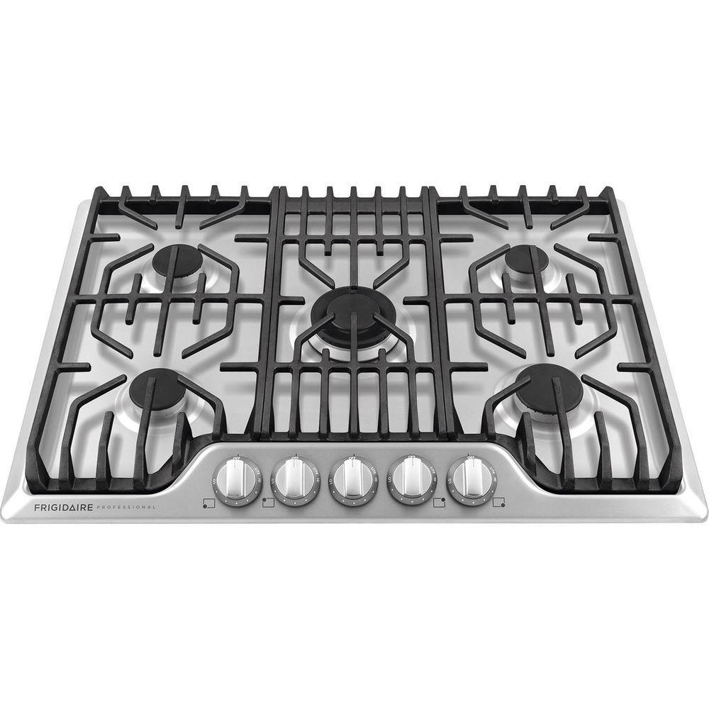Frigidaire Pro Stainless Steel 30 5 Burner Gas Cooktop Fpgc3077rs Gas Cooktop Frigidaire Professional Cooktop