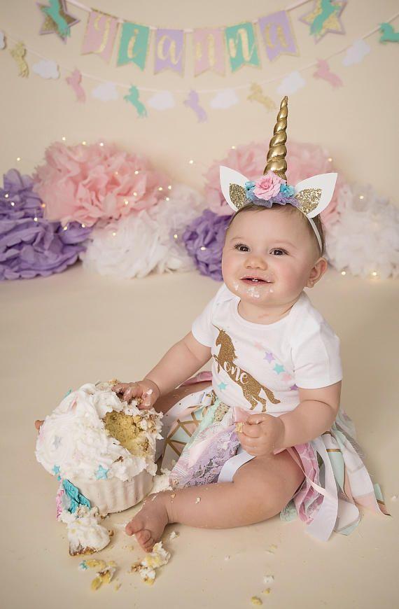 Rainbow unicorn headband Horn Birthday Crown Hat Cake Smash outfit photoshoot