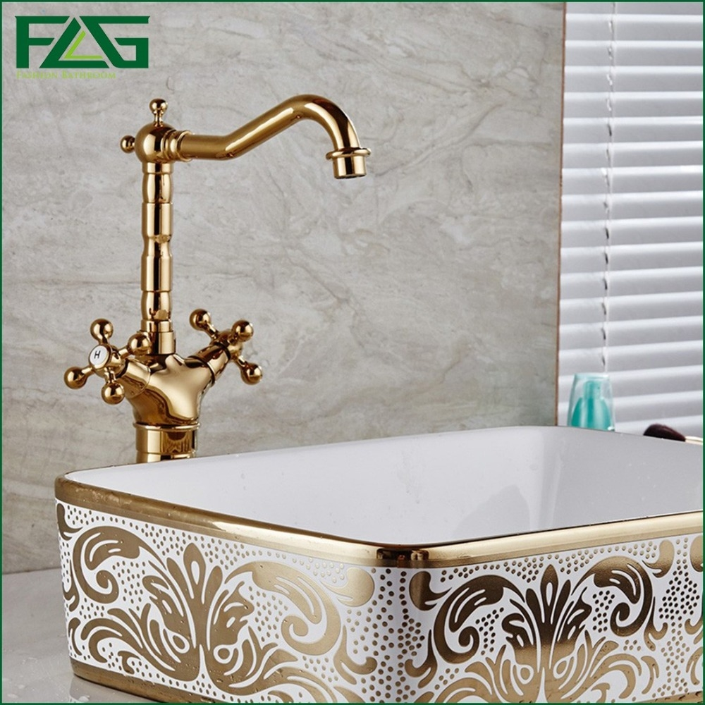 73.50$  Watch here - http://aliyng.worldwells.pw/go.php?t=32656858656 - Basin Faucet Golden Plate For Nobility Gold 100%Copper Classic Dual Holder Single Hole Cold & Hot Vintage&Bidet Sink  Mixer Tap 73.50$