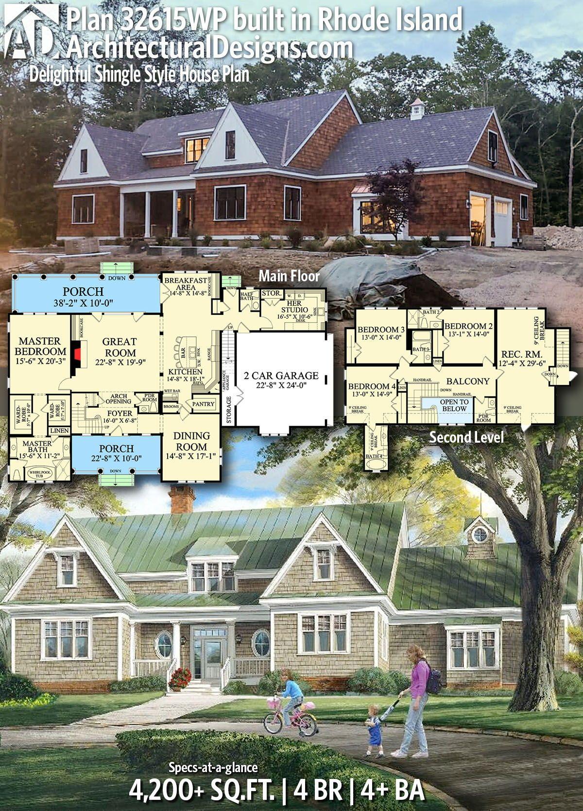 Plan 32615wp Delightful Shingle Style House Plan House Blueprints House Plans Architectural Design House Plans