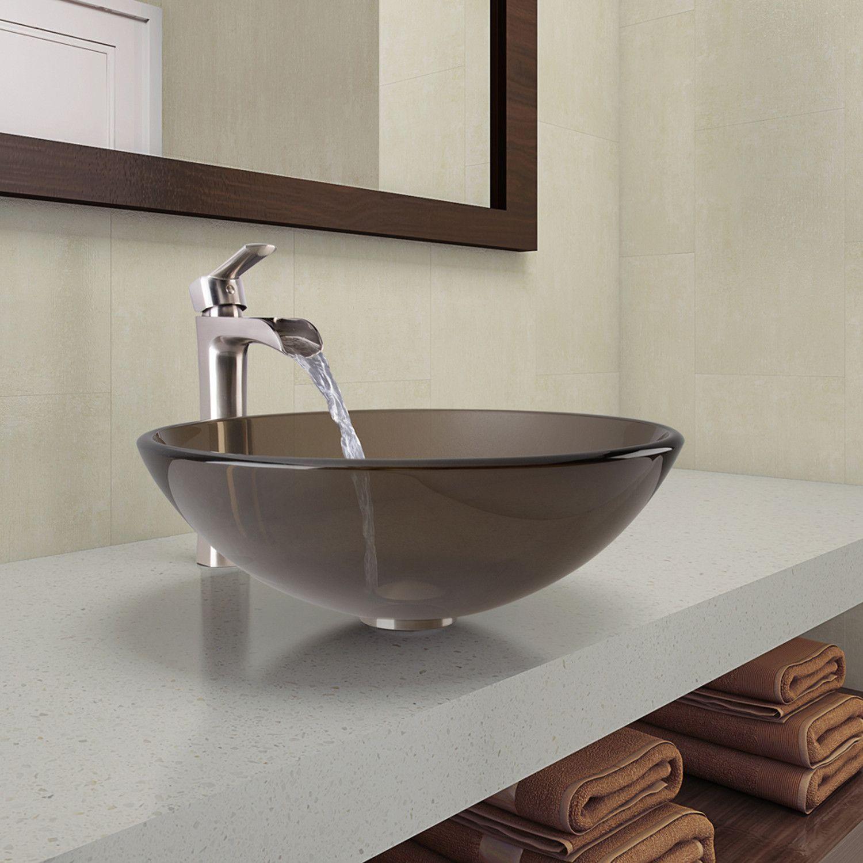 Sheer Sepia Glass Vessel Bathroom Sink and Niko Faucet Set in