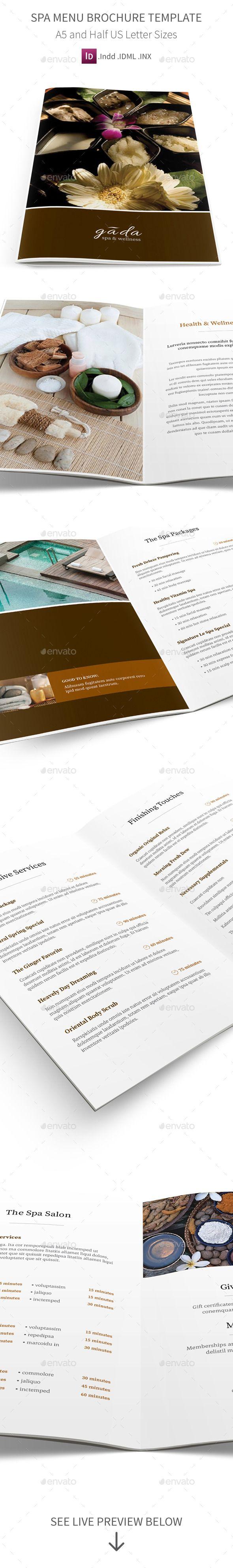 Spa Menu Brochure A5 Half Letter Sizes Wellness 14 Service