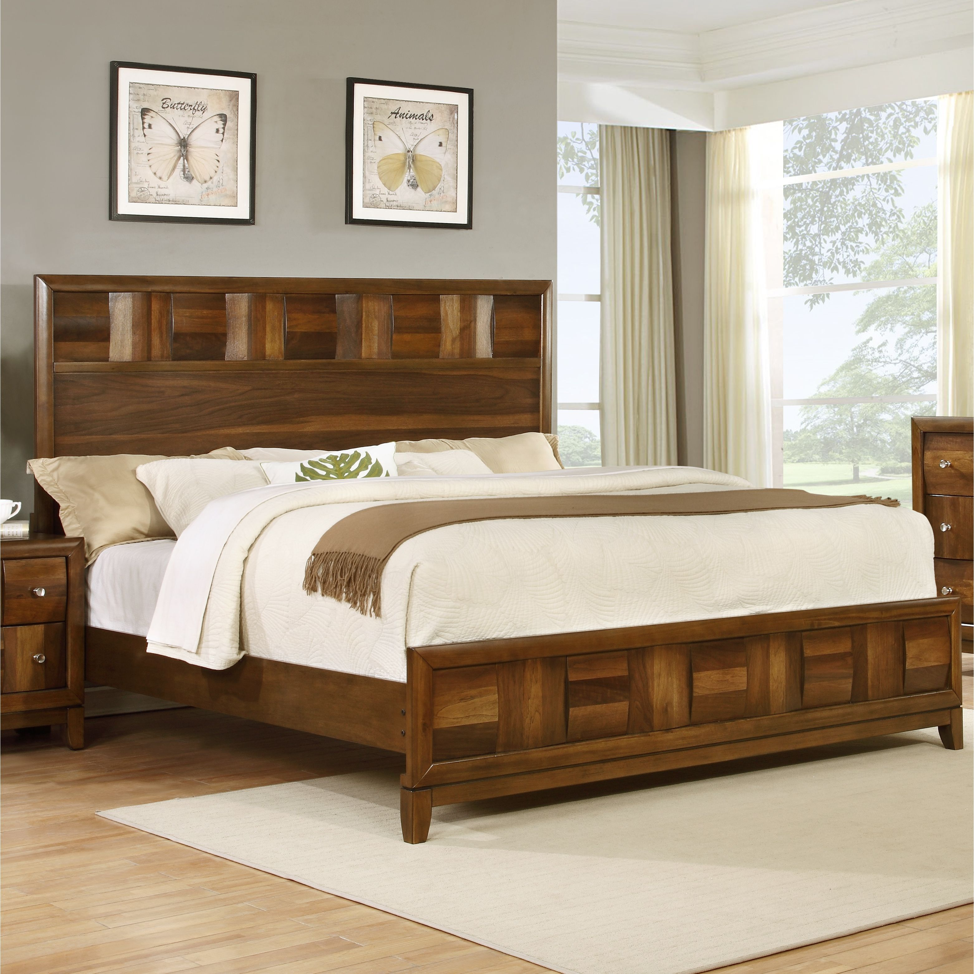 Calais Walnut Wood King Size Panel Bed (King), Brown