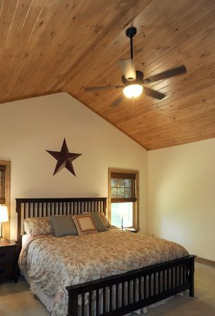 Bedroom With Knotty Pine Ceiling