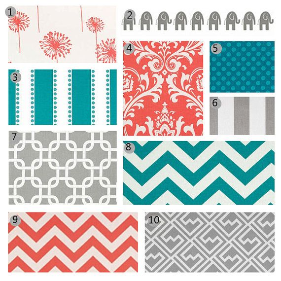 Hey, I found this really awesome Etsy listing at http://www.etsy.com/listing/161410522/custom-crib-bedding-coral-turquoise-and