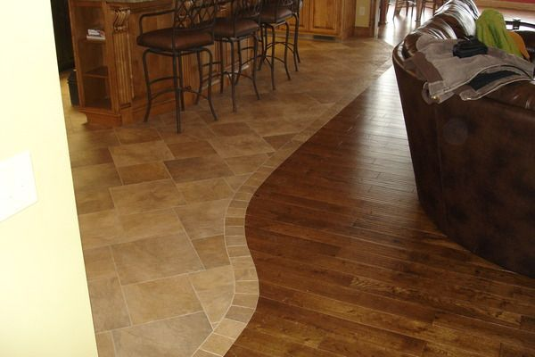 Simple Curve With A Narrow Strip Of The Same Tile Makes A Fine Transition From Hardwood Floor Wooden Floor Tiles Laminate Flooring In Kitchen Floor Tile Design