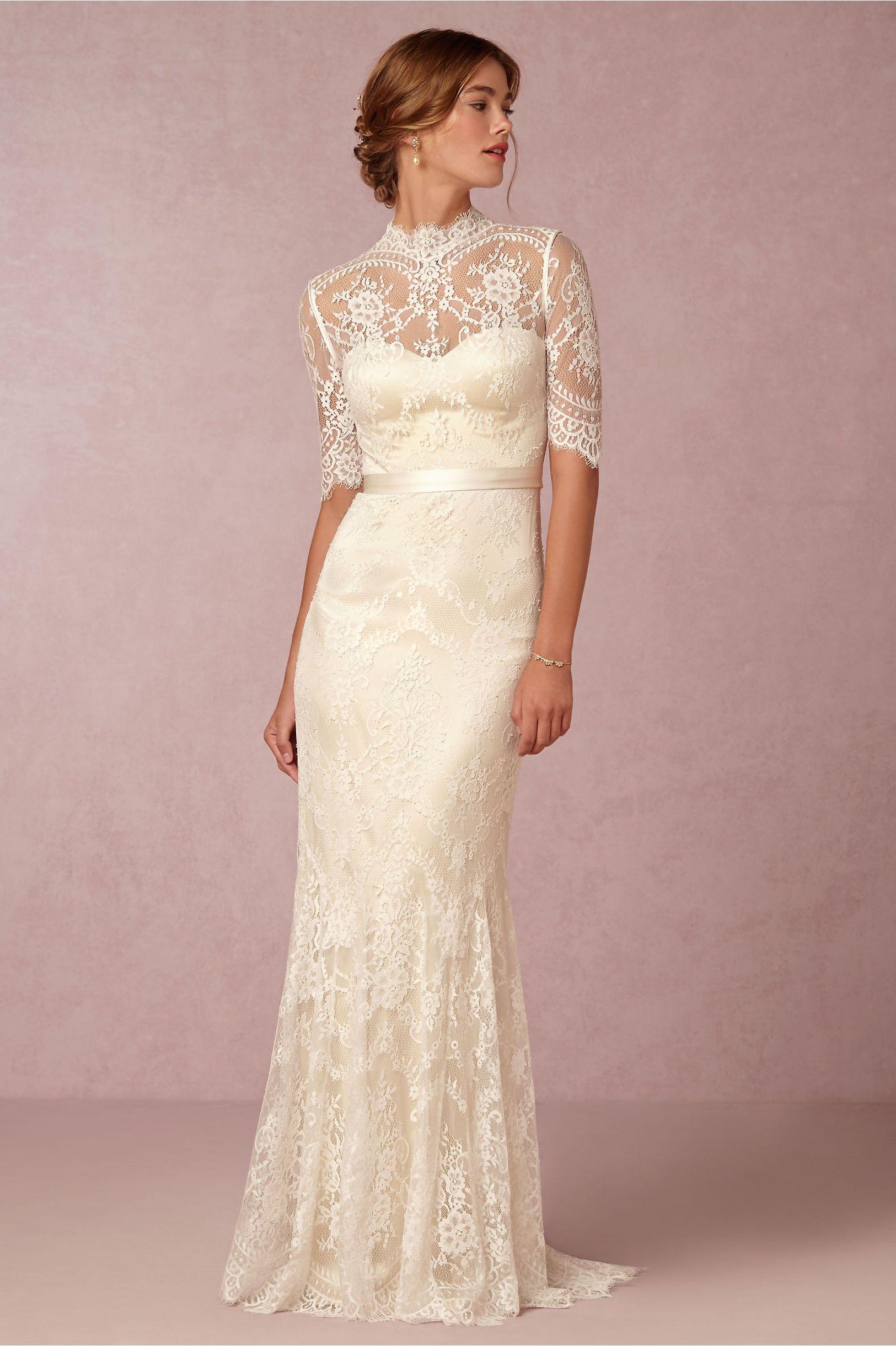 floral lace wedding dress Bridgette STUNNING Cream Lace Column Sheath Wedding Gown Showcasing Half Lace Illusion