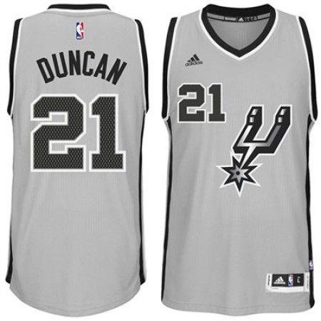 timeless design 77719 b98ad san antonio spurs 21 tim duncan gray with black pinstripe jersey