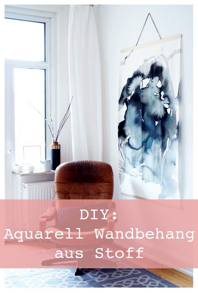 Diy Aquarell Wall Hanging Ganz Einfach Aus Ikea Stoff Ikea Stoff Diy Wanddeko Wandbehang Diy