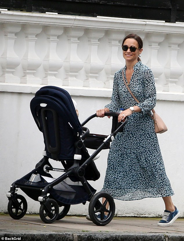 a00b304d3 Pippa dons a floral dress as she takes Arthur for a stroll in London ...