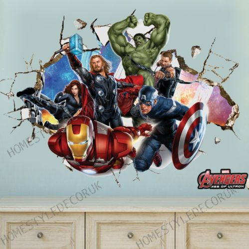 Avengers Super Hero Wall Stickers Crack Decal Kids Room Decor - Superhero wall decals application