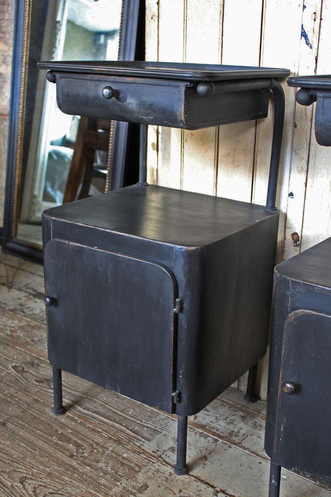 Black Metal Bedside Tables: Pair Of Bedside Cabinets