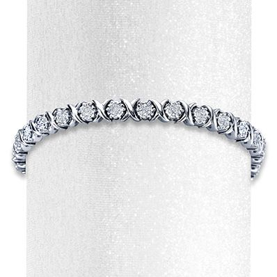 Diamond Bracelet 1 ct tw Round-cut Sterling Silver