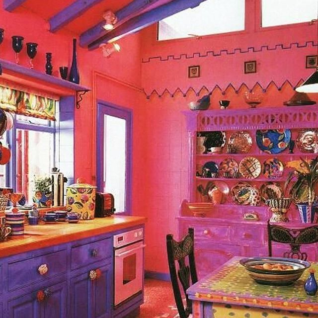 @bohemiandecor This is one very colourful kitchen. You'd have to be happy cooking in here! Love all the fabulous colours and all the fabulous cups ,plates, cookie jars, bowls etc. Very gypsy/boho decor here!  #gypsydecor#bohodecor#bohemianinteriors#gypsyinteriors#gypsylooks#bohointeriors#colourfulkitchens#creativecooking#colourfuldecor#home#gypset#colourful