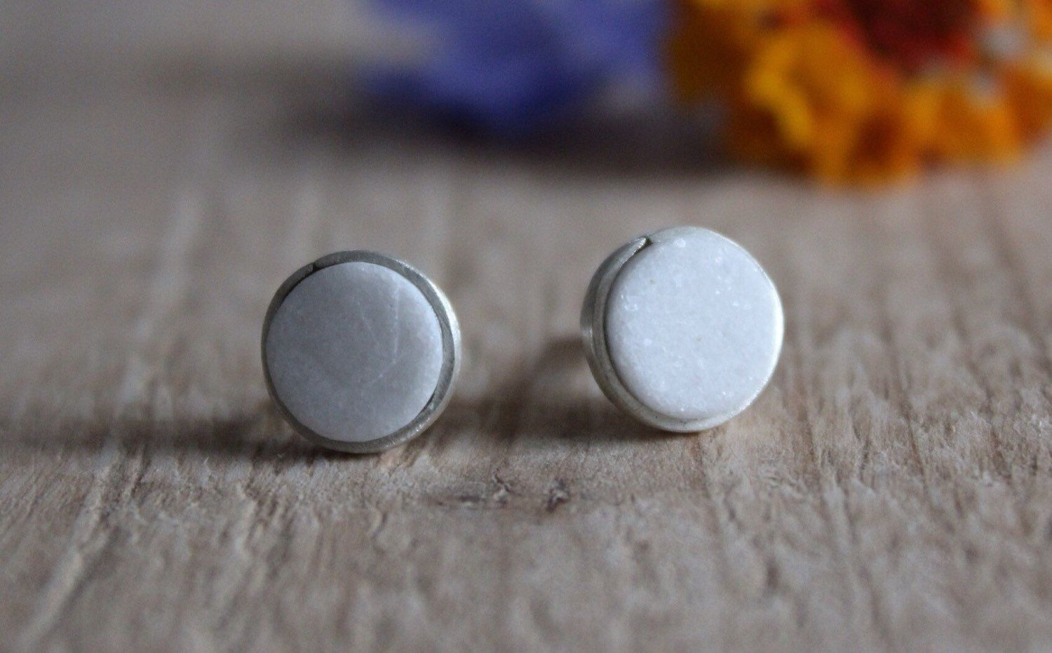 Small silver studs earrings , tiny cute round white marble stone earrings, white round stone studs, everyday little stud earrings by albertomilanese on Etsy