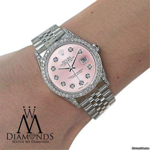 Offre d'une Rolex Datejust: 5.423€ Rolex Oyster Perpetual Datejust 36mm Diamonds Pink Dial..., Référence 16234; Remontage automatique; État 1 (excellent); Avec boîte; Avec papiers; Lieu: Éta