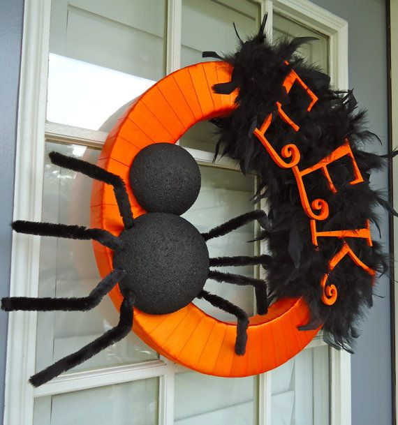 EEK! Halloween Wreath......Could do with Christmas as well, change ribbon and wording and decorate to theme.