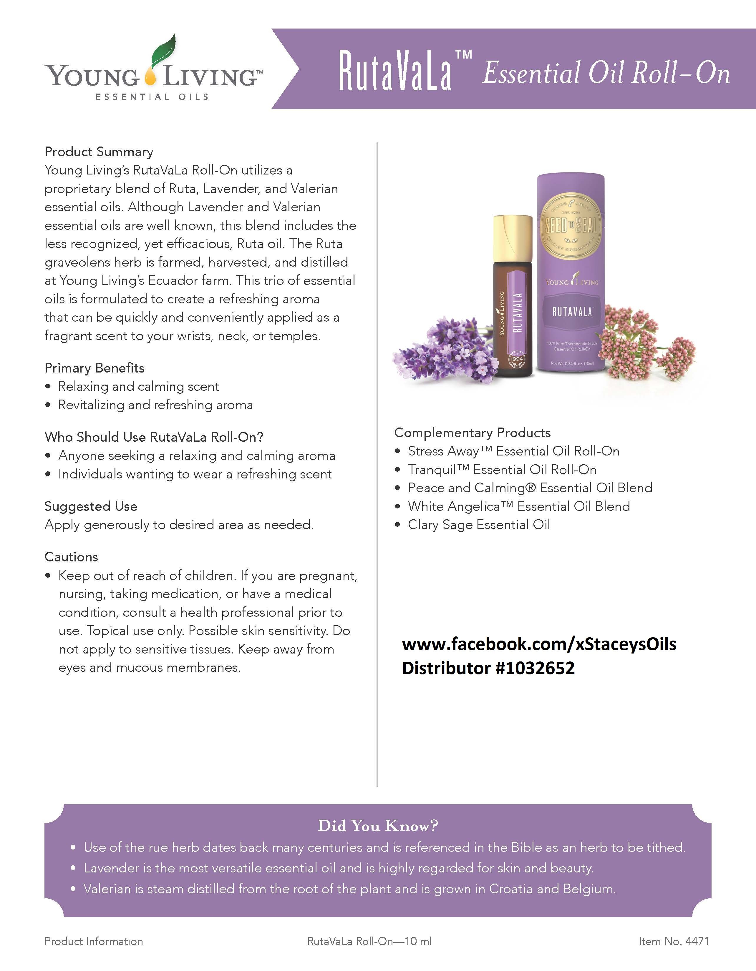 Young Living Essential Oils - RutaVaLa - Learn more about Young Living Essential Oils and how they can support your health – contact me! www.facebook.com/xStaceysOils Distributor# 1032652