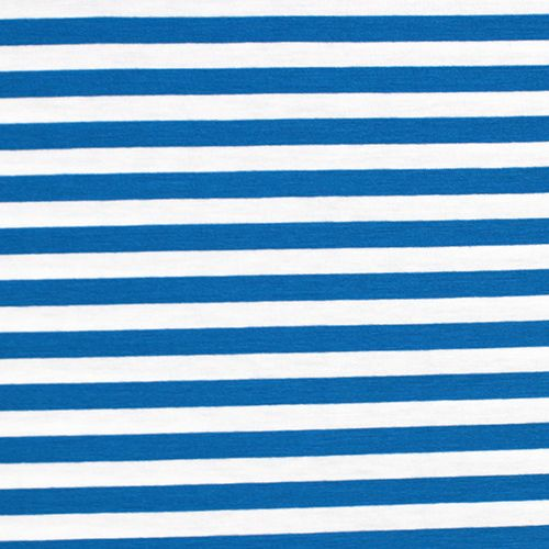 Royal Blue White Stripe Cotton Spandex Blend Knit Fabric And