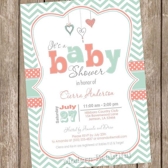 Coral And Mint Baby Shower Invitation Chevron By Modernbeautiful