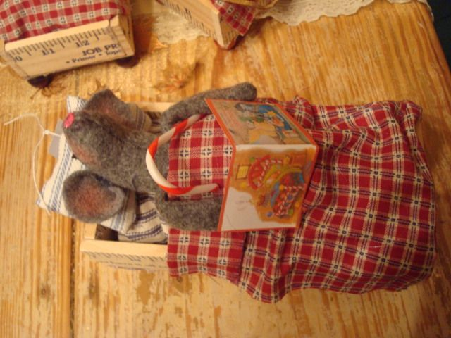 Little Christmas  mouse  waiting on Santa