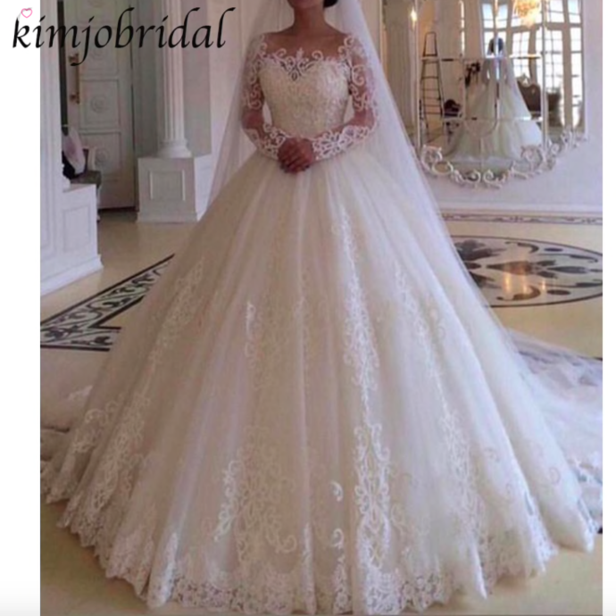 Lace Applique A Line Wedding Dresses For Bride 2020 Elegant Long Sleeve Ivory Cheap Bridal Dress Vestido De Novia Long Sleeve Wedding Dress Lace Ball Gown Wedding Dress Ball Gowns Wedding