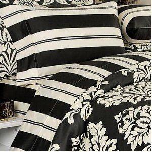 Damask Black Cream Duvet Cover Set | Damask bedding, Cream duvet