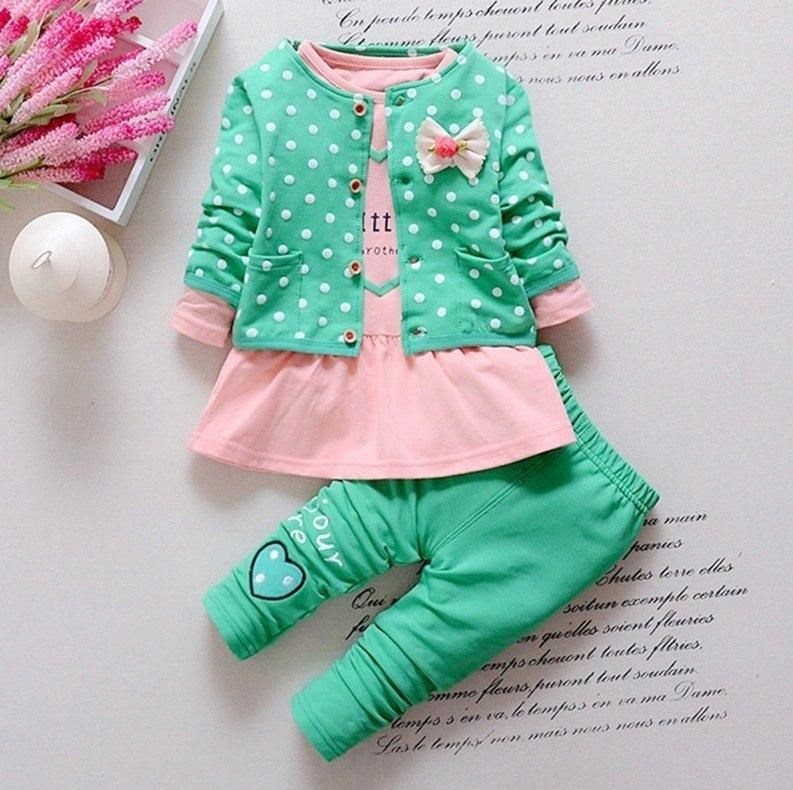 Kids 2PCS Outfits New Baby Sets Girls Heart-Shaped Print Bow T Shirt Tops and Cute Pants Clothes Set 0-2 Years