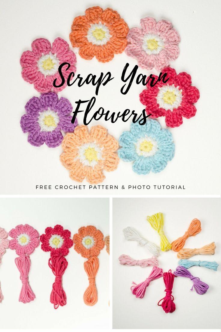 Free Crochet Pattern: Scrap Yarn Flowers   Crochet   Pinterest