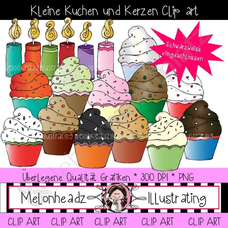 Fancy ClipArt Kleine Kuchen und Kerzen Farbig und schwarz wei