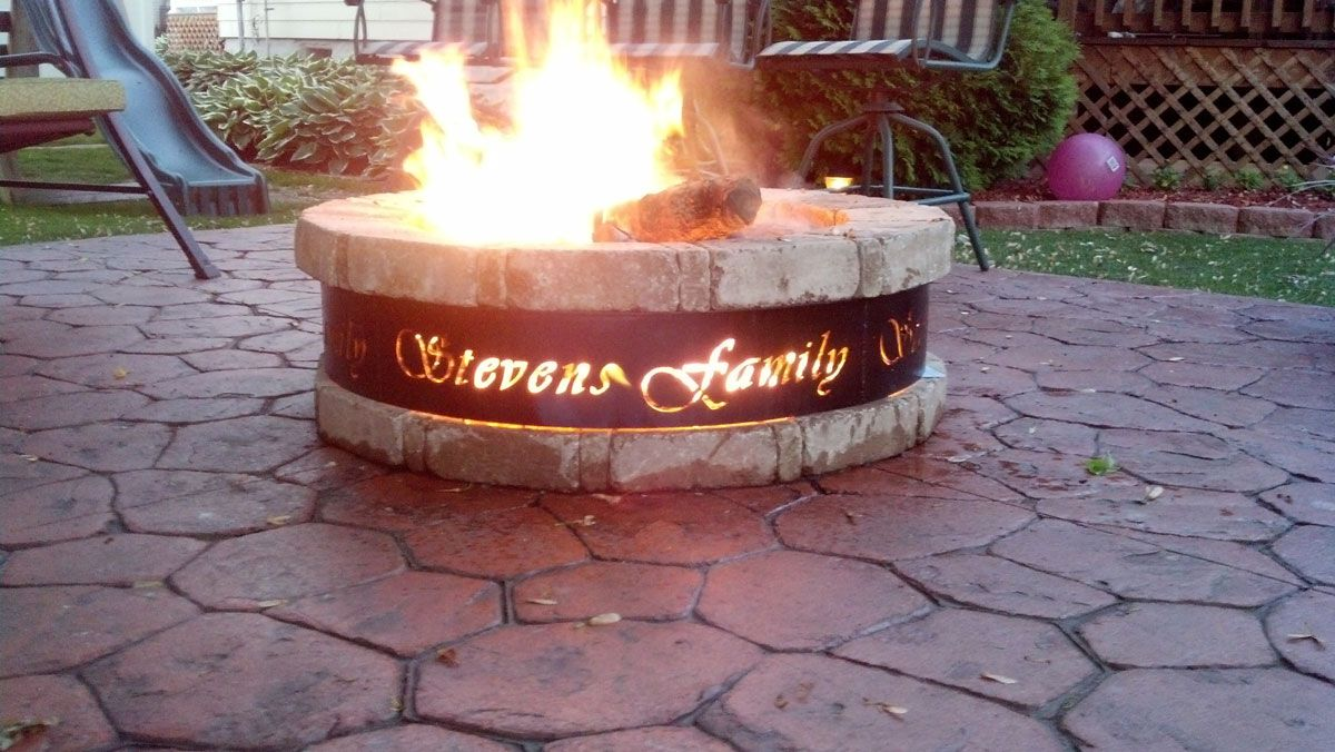 Outdoor Custom Metal Fire Pit With Round Stoned Fire Pit And Custom Fire Pit Fire Pit Fire Pit Materials