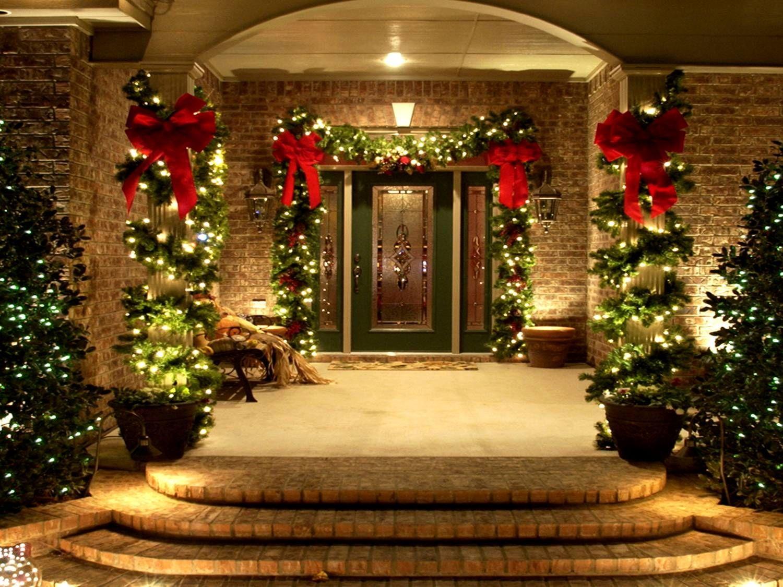 Deco De Noel Lumineuse Pour Fenetre ? décorations de porche d'entrée pour noël avec des