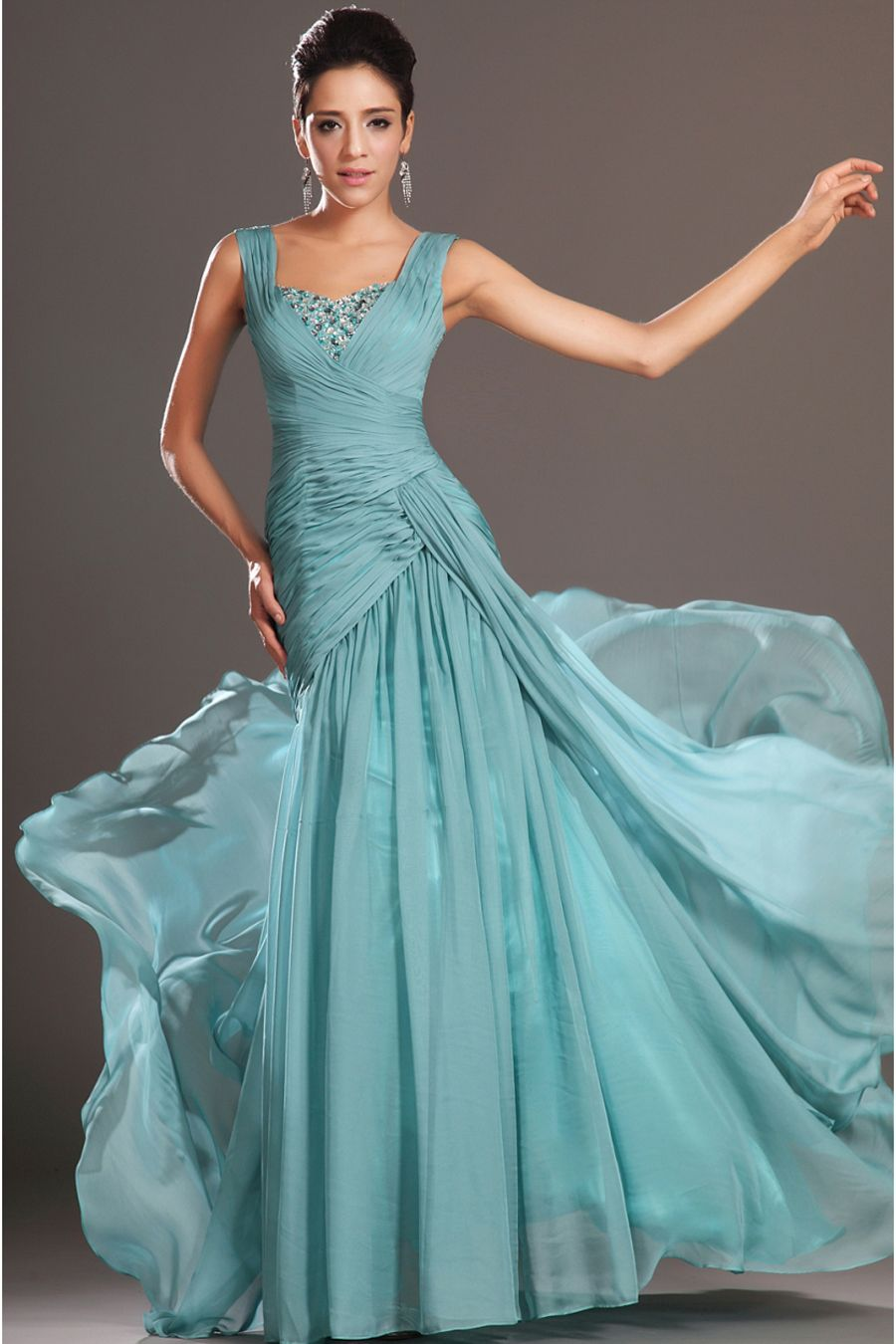 A-Line Floor-Length Straps Turquoise Chiffon Prom Dress | MY Girls ...