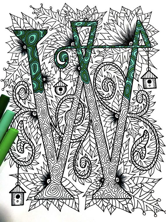 Letter W Zentangle Inspired By The Font Penelope Graphisms