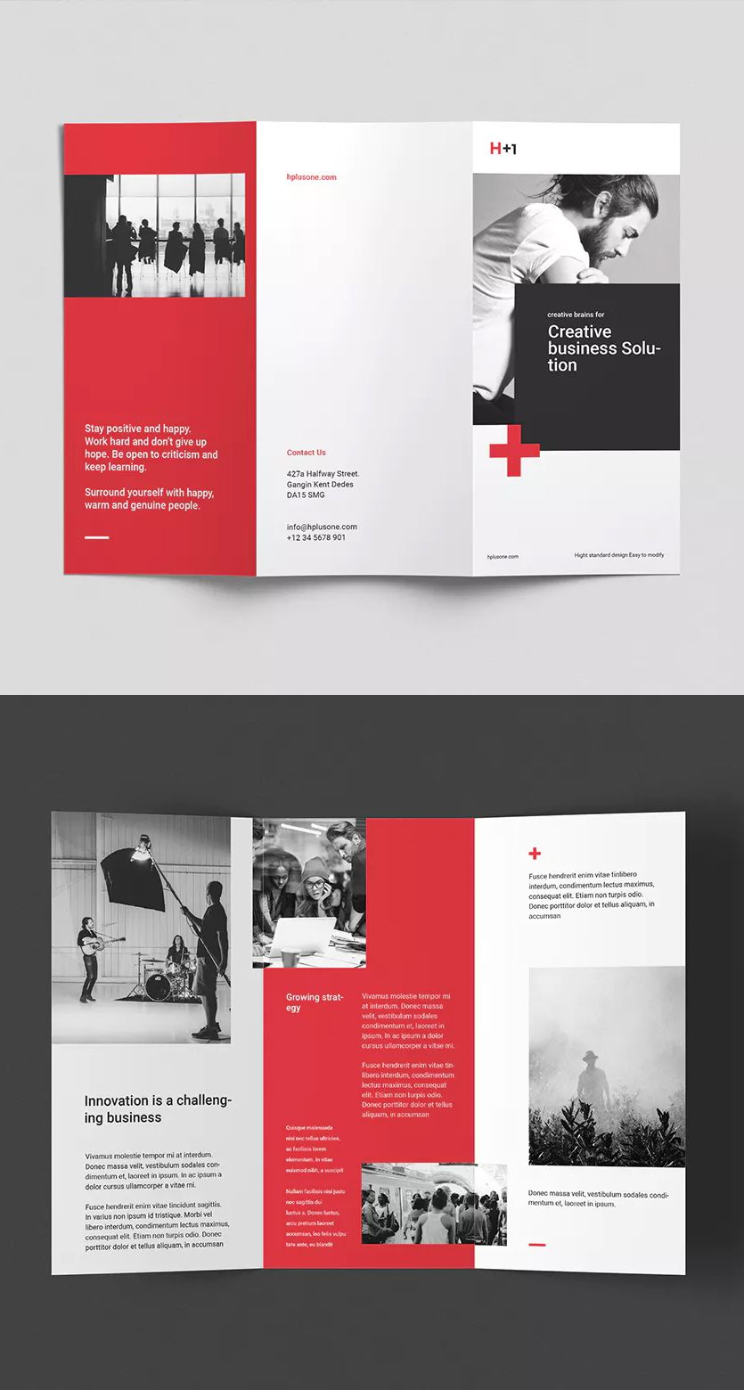 Corporate Tri-Fold Brochure Template InDesign INDD • Easy to
