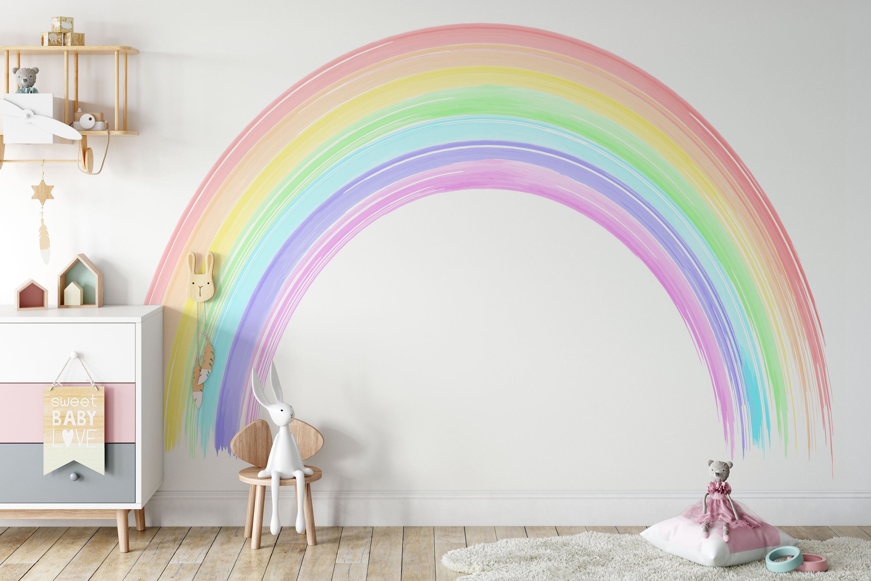 Seven Colours Of The Rainbow Wall Mural Colorful Rainbow Wall Etsy In 2021 Rainbow Girls Room Rainbow Room Rainbow Wall Decal