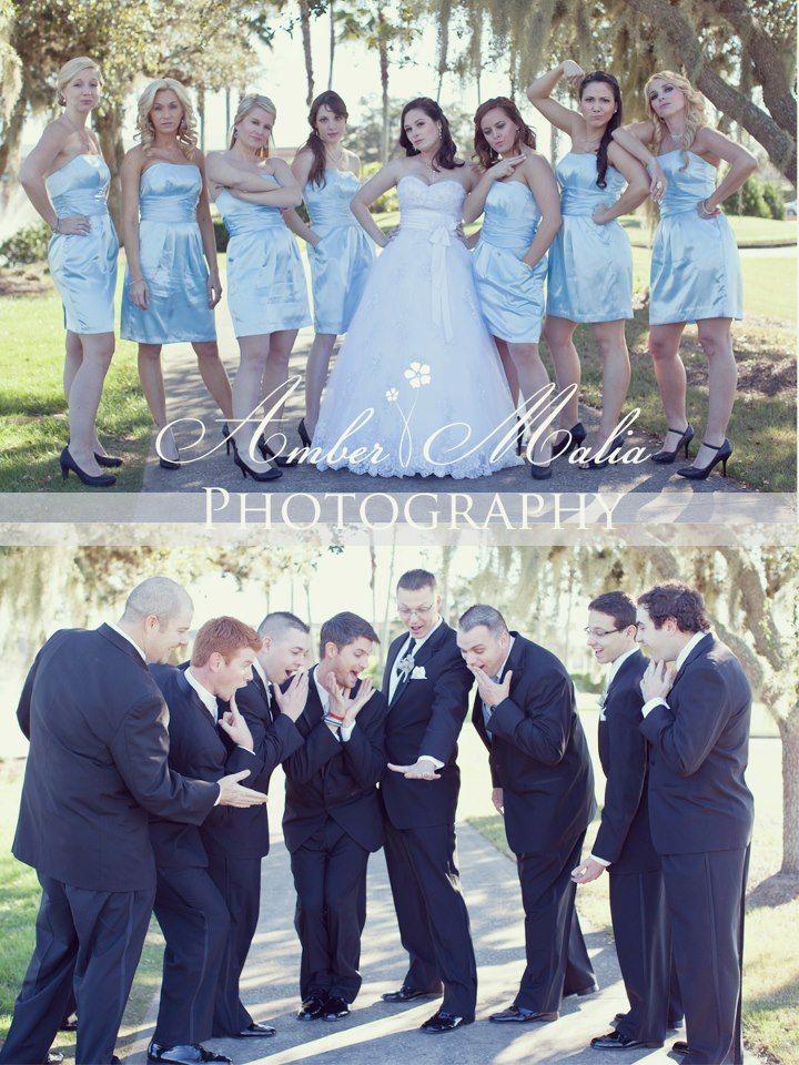 Funny wedding photo-Girls acting as the guys would, guys acting as the girls would--Amber Malia Photography Wedding Shoot