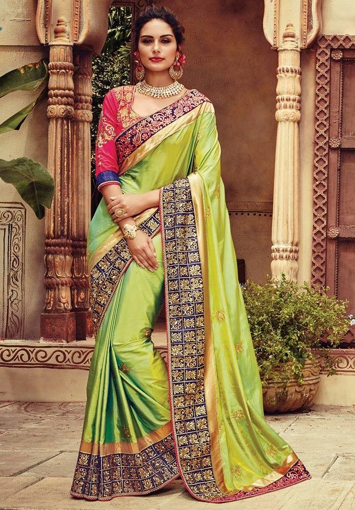 Green Silk Bridal Saree Blouse Indian