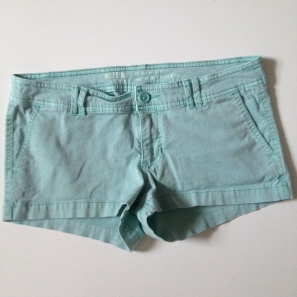 Mint Low Rise Chino Shorts Mossimo low rise short short in a nice washed mint color. Color is mildly faded but it's supposed to look that way. Mossimo Supply Co Shorts