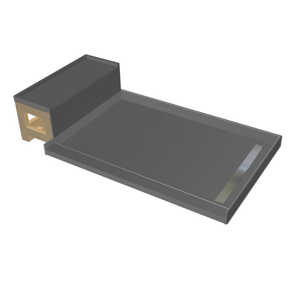 Tile Redi 48 In X 72 In Single Threshold Shower Base In Gray And