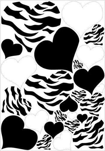 Black And White Leopard Print Heart | Hearts Zebra Print, Black, And White  Wall