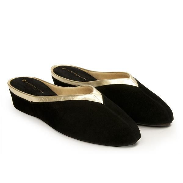 b4e694e864aa0f Jacques Levine  4640 Slippers in Black Suede at Jacques Levine s Official  Site. Free shipping on Women s Wedge Slippers  4640