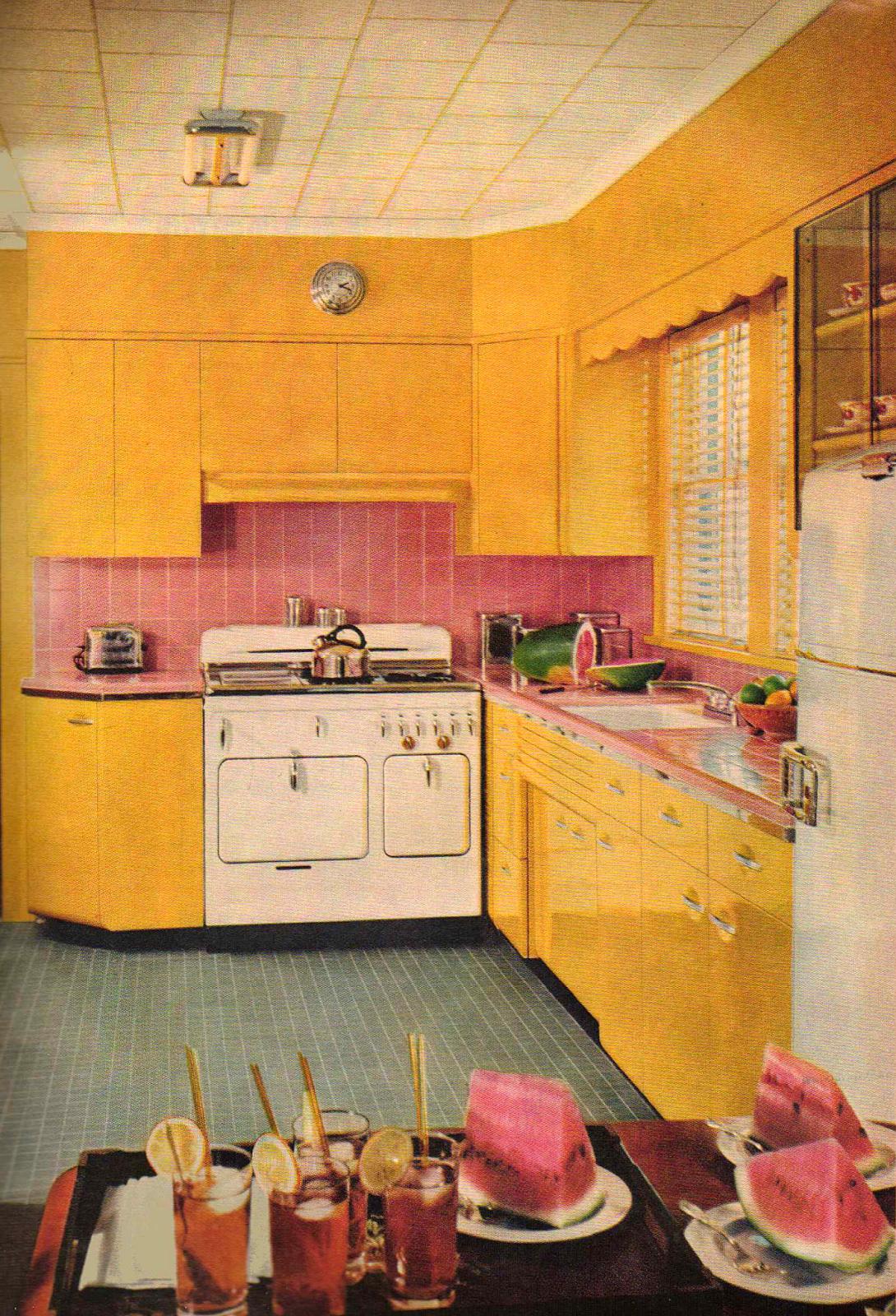 Mid-century kitchen cabinets | Lemon chartreuse cream | Pinterest ...