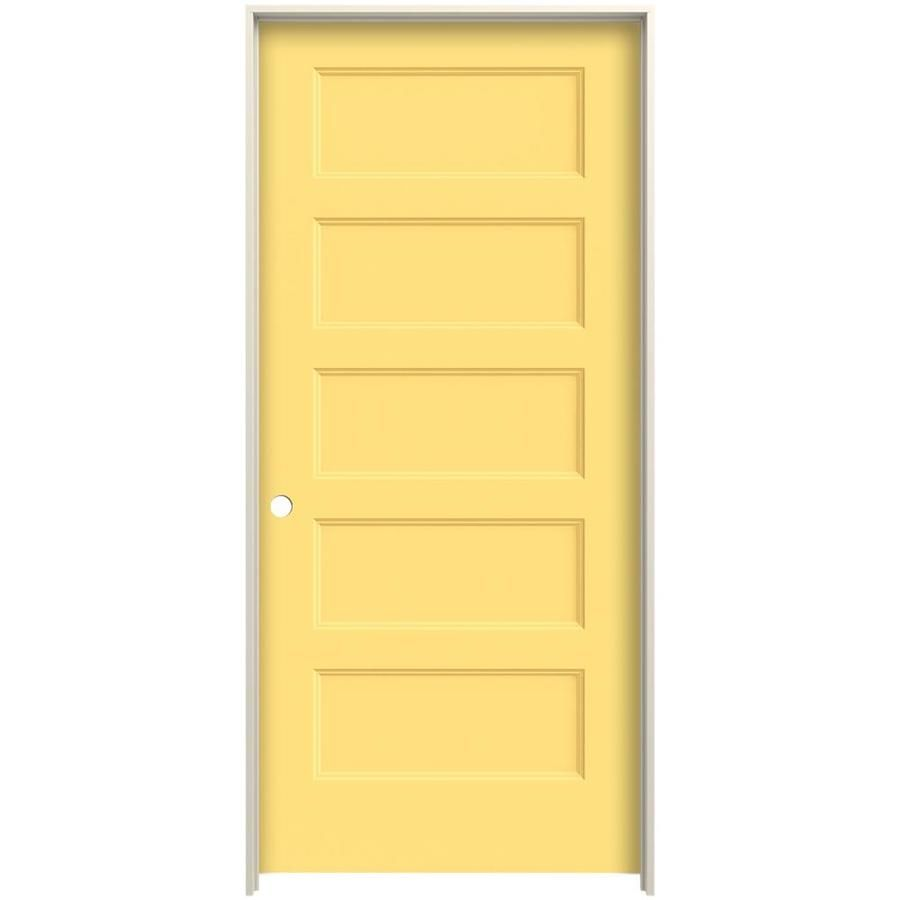 Jeld Wen Conmore Marigold 5 Panel Equal Solid Core Molded Composite Pre Hung Door Common 32 In X 80 In Actual 33 562 In 2020 Hollow Core Interior Doors Lowes Home Improvements Paint Finishes