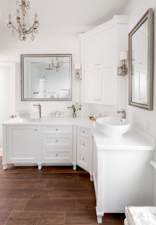 Chic White Bathroom Features Curved Cabinets Topped With His And Amusing Small Corner Cabinet Bathroom Inspiration