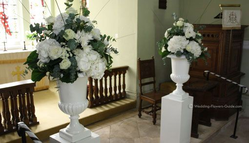 Outdoor Wedding Ceremony Flower Arrangements Church Flowers At The Altar Of A Chapel