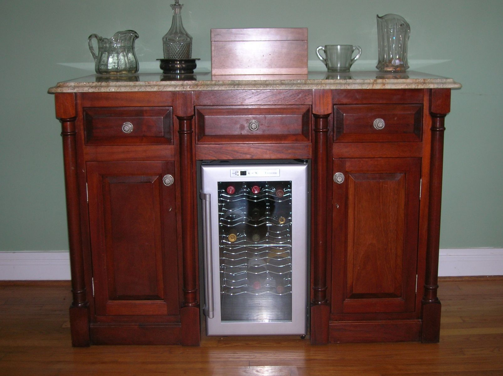 Home Bar with Wine Refrigerator More Home Bar Ideas here